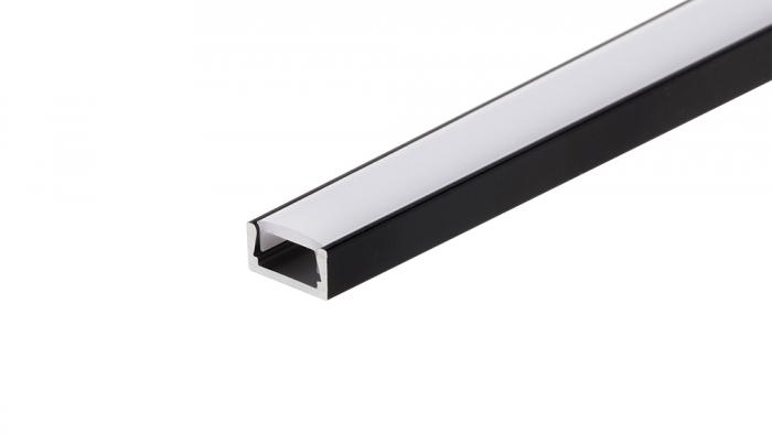 LED Anbauprofil MIC-2000  BLACK, 2m, eloxiert