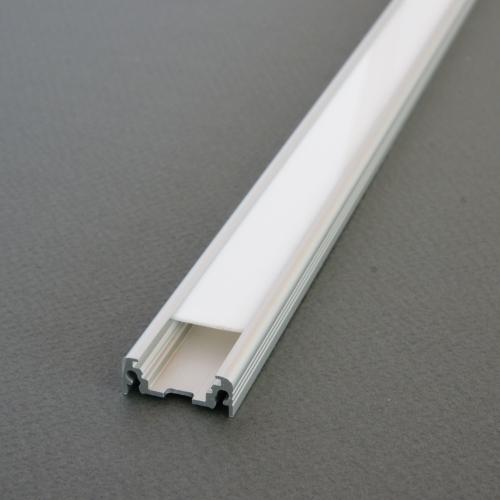 LED Profil SURFACE 10mm ALU 2m eloxiert + weisse Abdeckung, SET