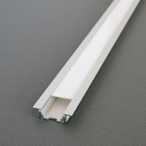 LED Einbauprofil GROOVE10 2m eloxiert + weisse Blende, SET zur indirekten Beleuchtung für Möbel, Boden, Küche, Bad