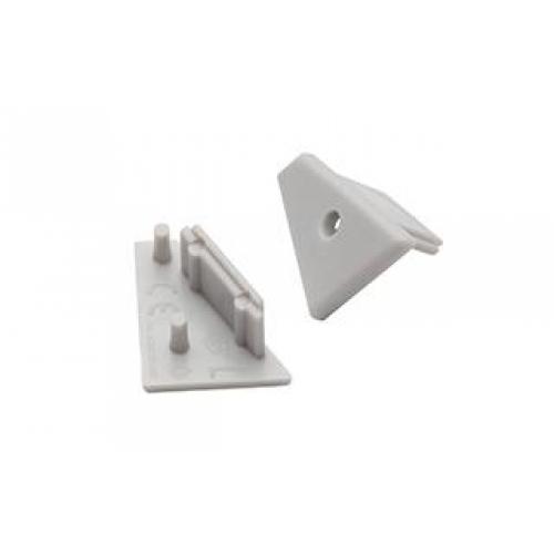 Endkappen für Aluminiumprofil CORNER10 (2Stück, links/rechts, grau)