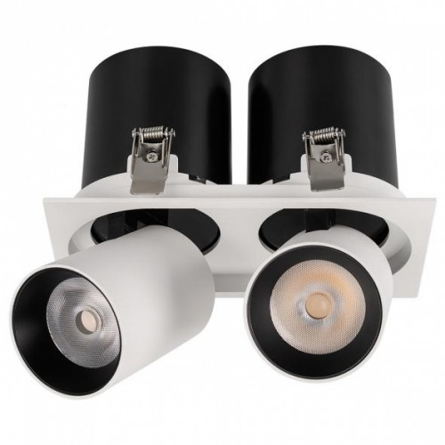 LED Doppel-Einbaustrahler SH-AZ-20W-3000K, warmweiß, eckig Ø175x90, matt weiß, inkl. Netzteil
