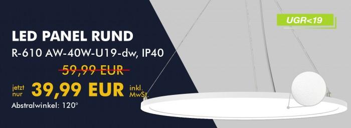 LED Panel Rund R-610 AW-40W-U19-dw tagesweiß, SET