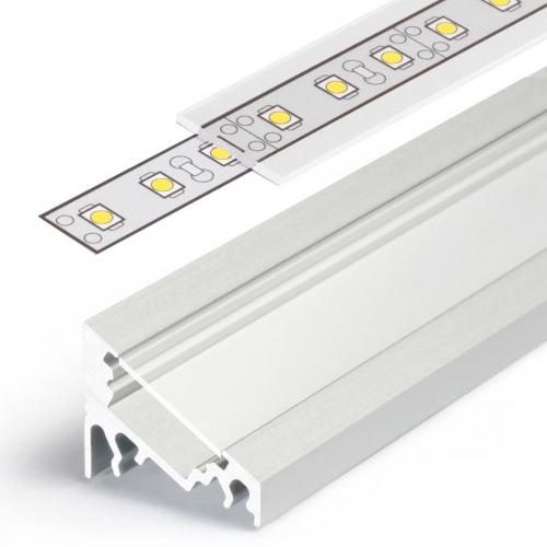 LED Eckprofile CORNER10 (CO) 1000, eloxiert - 1 m  Blende - klar, transparent