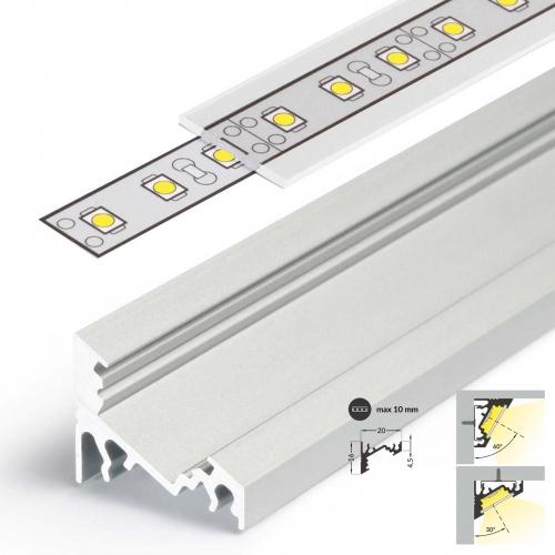 LED Eckprofile CORNER10 (CO) 2000, eloxiert - 2 m Blende - klar, transparent