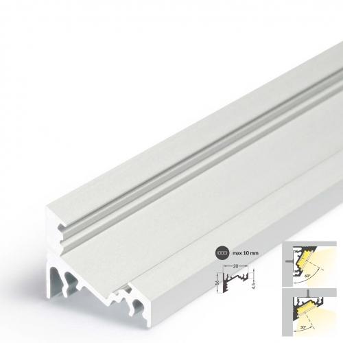 LED Eckprofile CORNER10 (CO) 2000, eloxiert - 2 m ohne Abdeckung