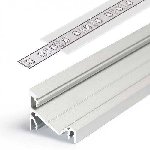 LED Eckprofile CORNER14 (CO14) 2000, eloxiert - 2 m Blende - raureif/diffus