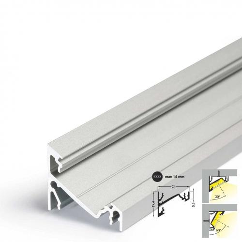 LED Eckprofile CORNER14 (CO14) 2000, eloxiert - 2 m  ohne Abdeckung