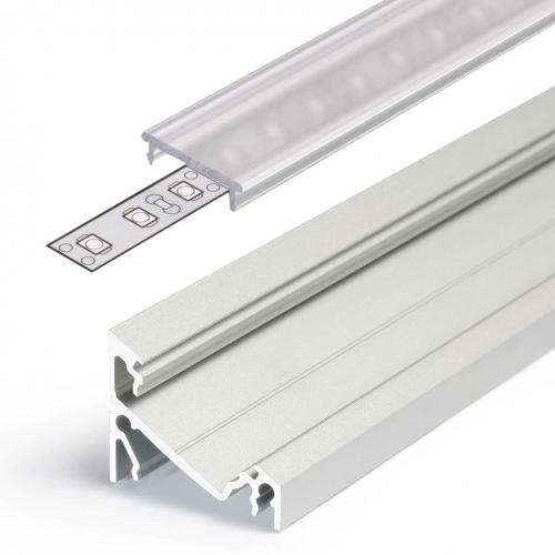 LED Eckprofile CORNER14 (CO14) 2000, eloxiert - 2 m Abdeckung - klar/transparent
