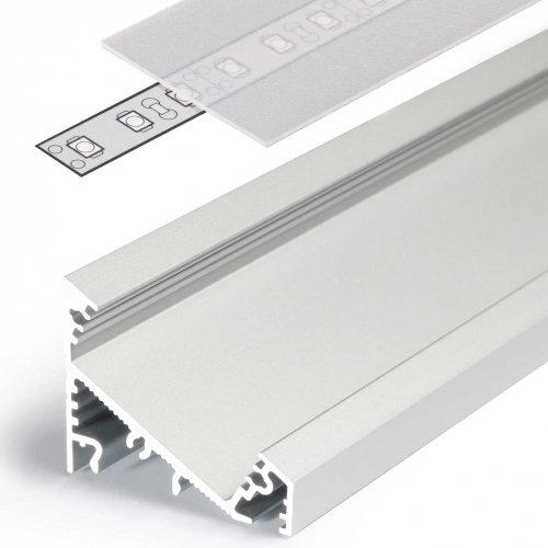 LED Eckprofile CORNER27 (CO27) 2000, eloxiert - 2 m Blende - raureif/diffus