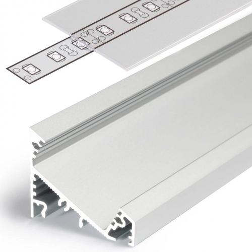 LED Eckprofile CORNER27 (CO27) 2000, eloxiert - 2 m Blende - klar/transparent