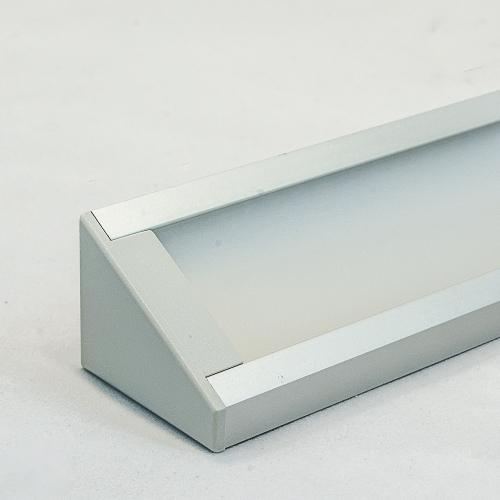 LED Aluminium Eckprofil Set CORNER 27mm (2m) eloxiert inkl. Blende (raureif/diffus), Befestigungsclips und Endkappen für LED-Streifen/indirekte Beleuchtung