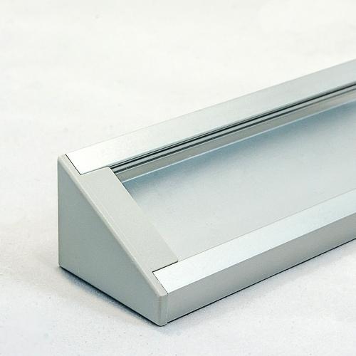 LED Aluminium Eckprofil Set CORNER 27mm (2m) eloxiert inkl. Blende (klar/transparent), Befestigungsclips und Endkappen für LED-Streifen/indirekte Beleuchtung