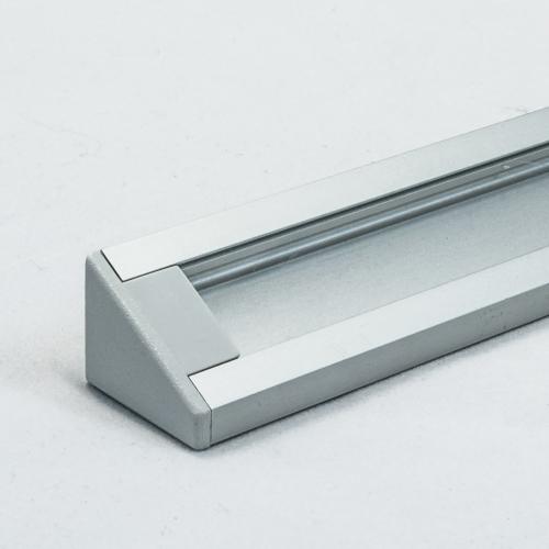 LED Aluminium Eckprofil Set CORNER 10mm (2m) eloxiert inkl. Blende (klar/transparent), Befestigungsclips und Endkappen für LED-Streifen/indirekte Beleuchtung