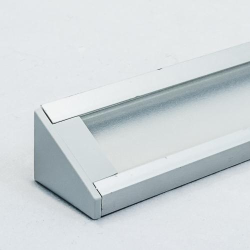 LED Aluminium Eckprofil Set CORNER 14mm (2m) eloxiert inkl. Blende (raureif/diffus), Befestigungsclips und Endkappen für LED-Streifen/indirekte Beleuchtung