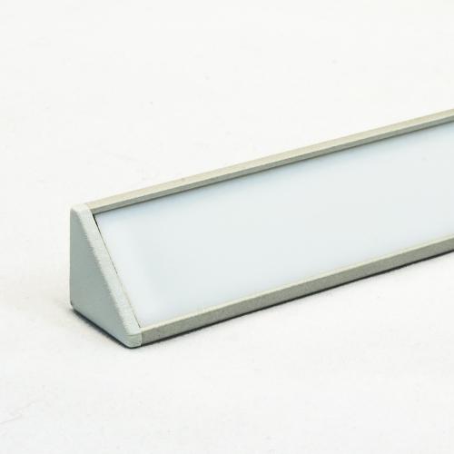 LED Aluminium Eckprofil Set CABI 12mm (2m) eloxiert inkl. Blende (weiß) und Endkappen für LED-Streifen/indirekte Beleuchtung
