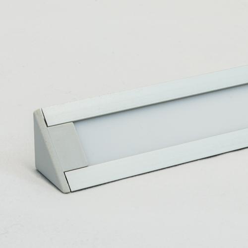 LED Aluminium Eckprofil Set TRIO 10mm (2m) eloxiert inkl. Blende (weiß), inkl. 2 Endkappen für LED-Streifen/indirekte Beleuchtung