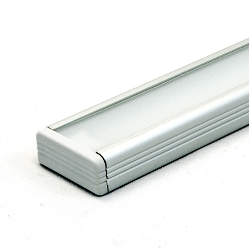 LED Aluminium Anbauprofil Set SURFACE 10mm (2m), eloxiert inkl. Blende (raureif/diffus), Befestigungsclips und Endkappen für LED-Streifen/indirekte Beleuchtung