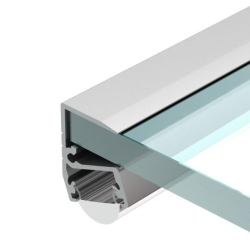 LED Glasprofil EDGE-T-10-1m, eloxiert