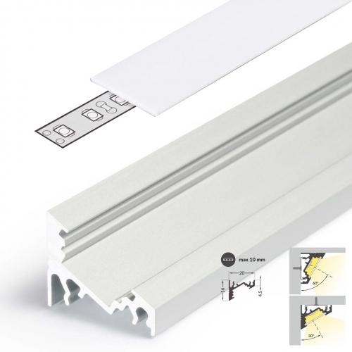 LED Eckprofile CORNER10 (CO) 2000, eloxiert - 2 m Blende - weiß, milchig