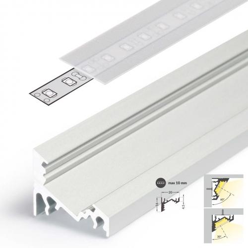 LED Eckprofile CORNER10 (CO) 2000, eloxiert - 2 m Blende - raureif, diffus