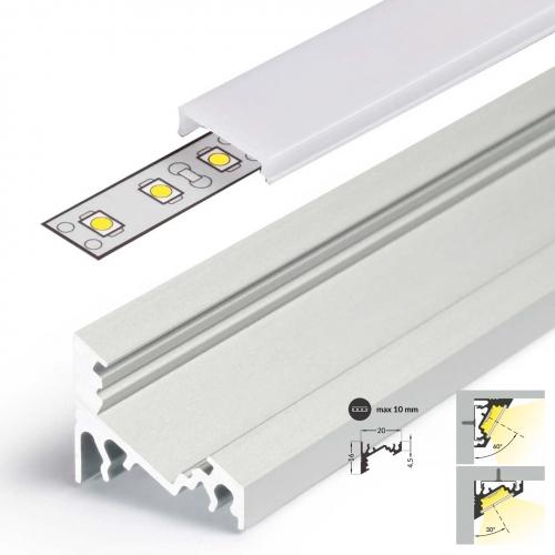 LED Eckprofile CORNER10 (CO) 2000, eloxiert - 2 m Abdeckung - weiß, milchig