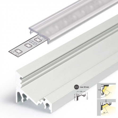 LED Eckprofile CORNER10 (CO) 2000, eloxiert - 2 m Abdeckung - klar, transparent