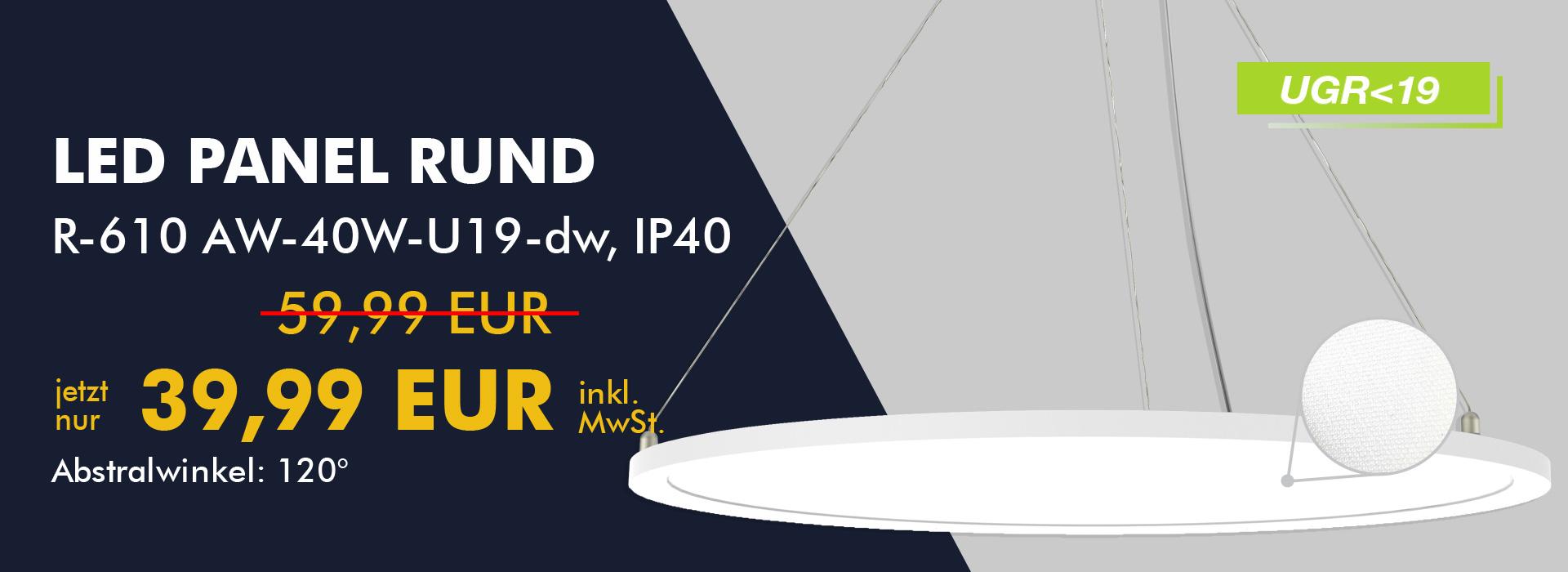 LED-Panel rund, inderekte & direkte Beleuchtung