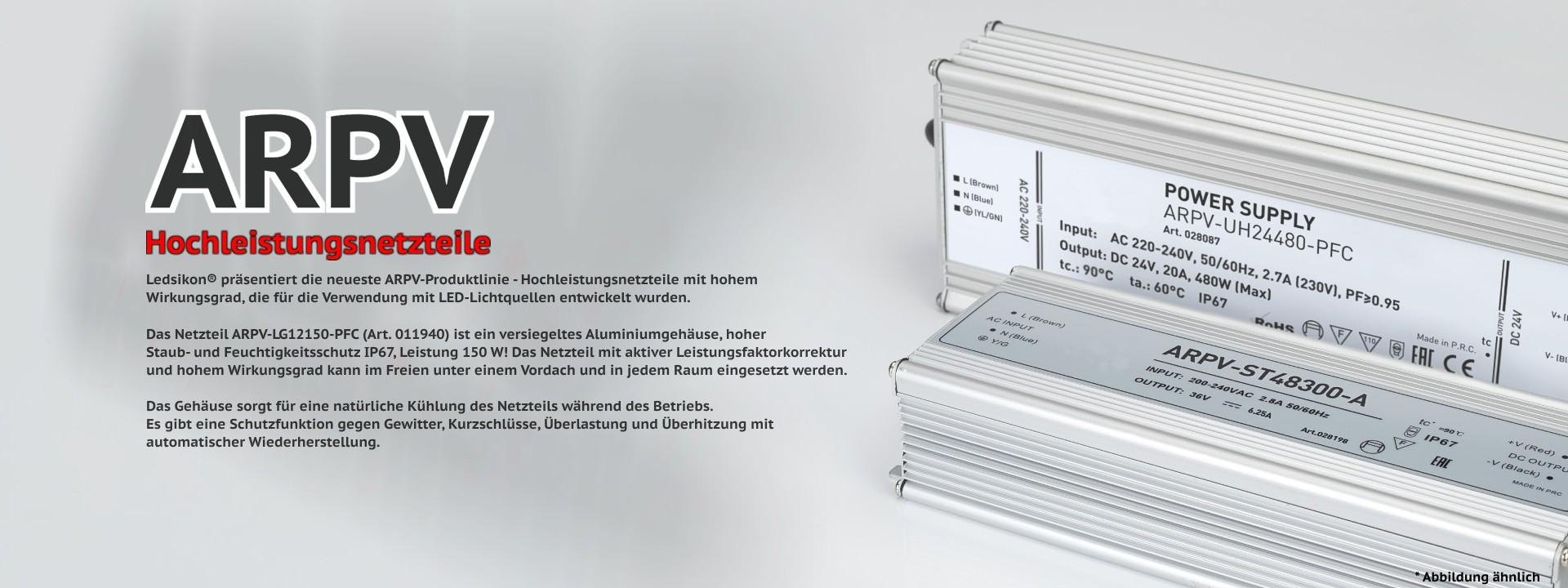 Netzteil ARPV-LG12150 (12V, 12.5A, 150W, PFC) IP67